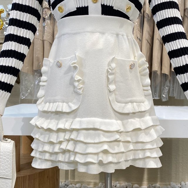Causal Knitted Sweater 2 Piece Set Women Outfits Striped Long Sleeve Elegant Cardigan Top + Pleated Mini Skirts Two Piece Suits 5