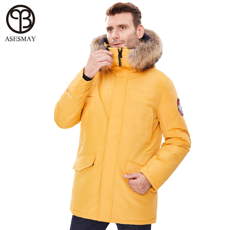 Asesmay Men Winter Jacket Parka With Raccoon Fur Hood Coat Thick Warm Puffer Orange Jackets Detachable Suspenders Plus Size