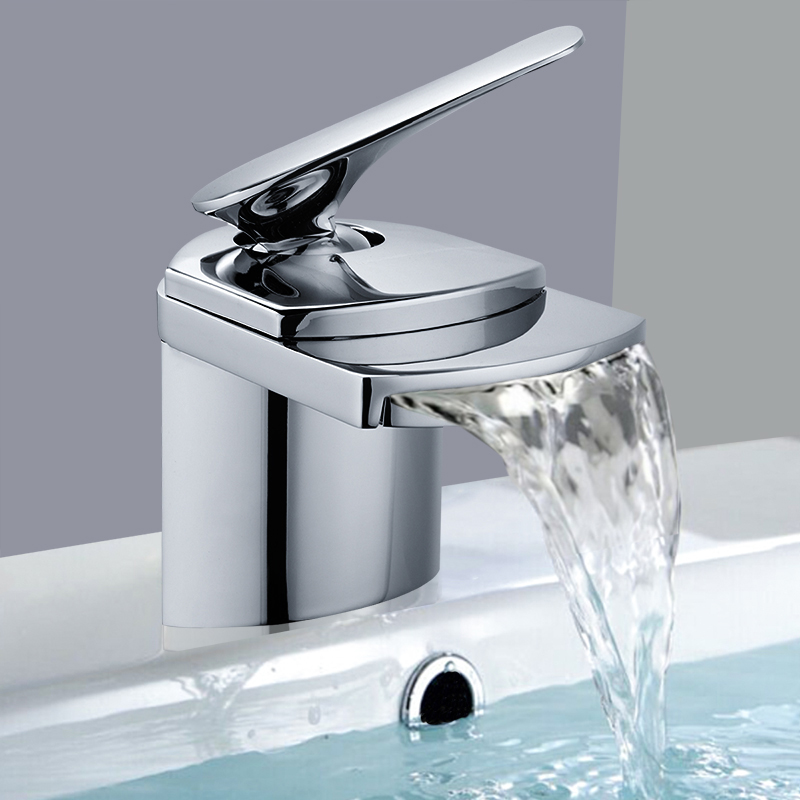Cascade salle de bain mitigeur bassin évier robinet d'eau froide et chaude Chrome salle de bain bassin robinets