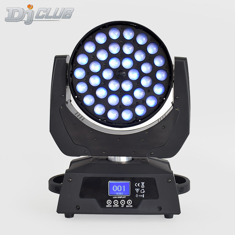LED Moving Head Wash Stage Light  For LED Wash 36x18 Watt RGBWA +UV  Multichip LEDs With Linear Zoom