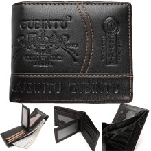 GUBINTU Men Paris Leather Card Cash Receipt Holder Organizer Bifold Wallet Purse
