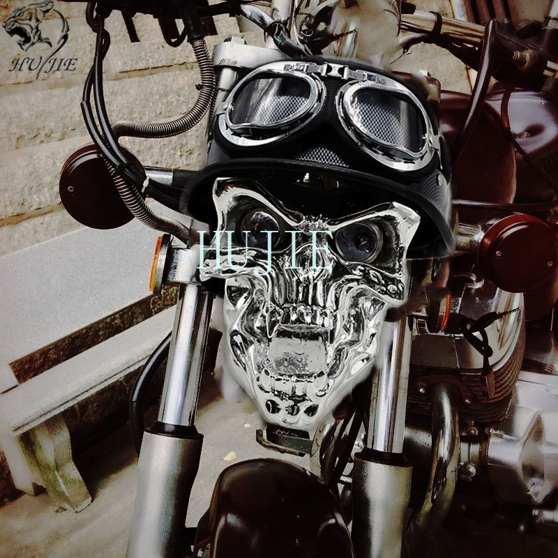 Skull Head Light Universal Headlight Lamp + Helmets Goggles For Harley Touring Sportster For Harley Dyna