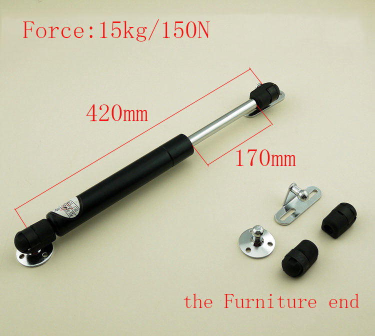 Free shipping  420mm central distance, 170 mm stroke, pneumatic Auto Gas Spring, Lift Prop Gas Spring Damper the Furniture end
