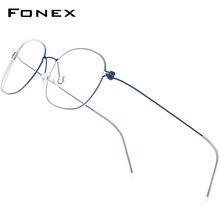 Fonex b titânio óculos quadro masculino prescrição óculos coreano dinamarca feminino miopia óptica quadro screwless eyewear f7513