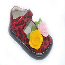 girls shoes leopard printed fabric brown hot pink red black white toddlers flat sole 6 7 8 9 10 2013 New,sqeaky squeaker