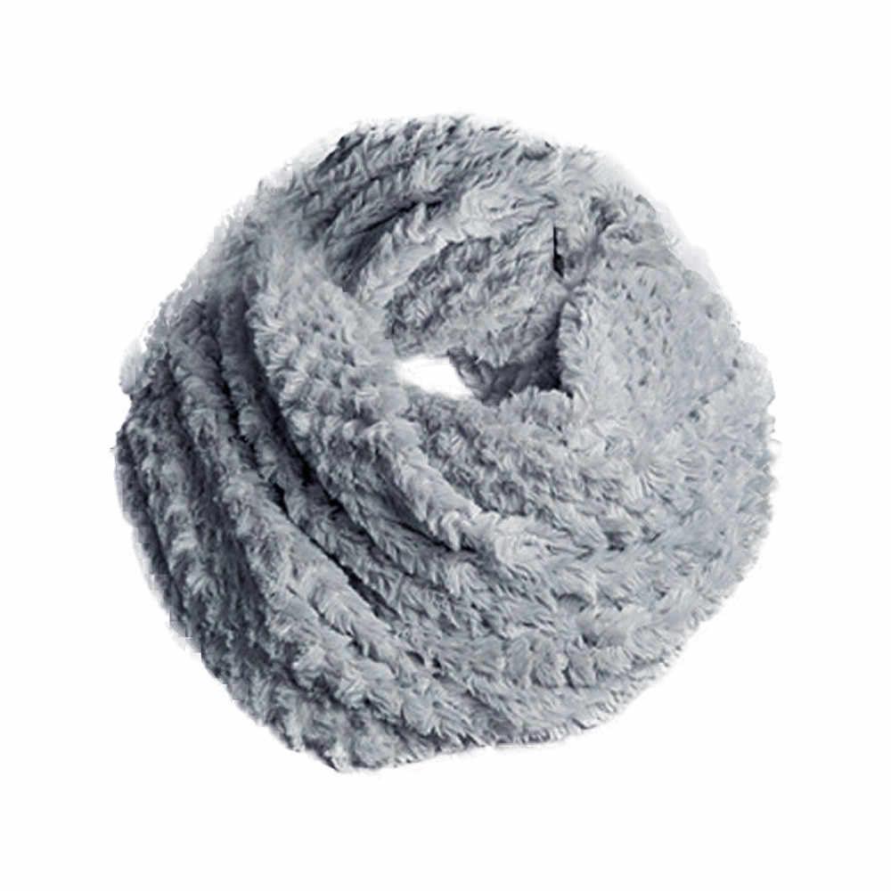 Sciarpa di inverno delle donne sciarpe morbide Faux Fur Infinity Circle Cavo Collo ad anello Lungo Dello Scialle Della Sciarpa Dell'involucro Della Signora soild di colore Morbido anello Sciarpa