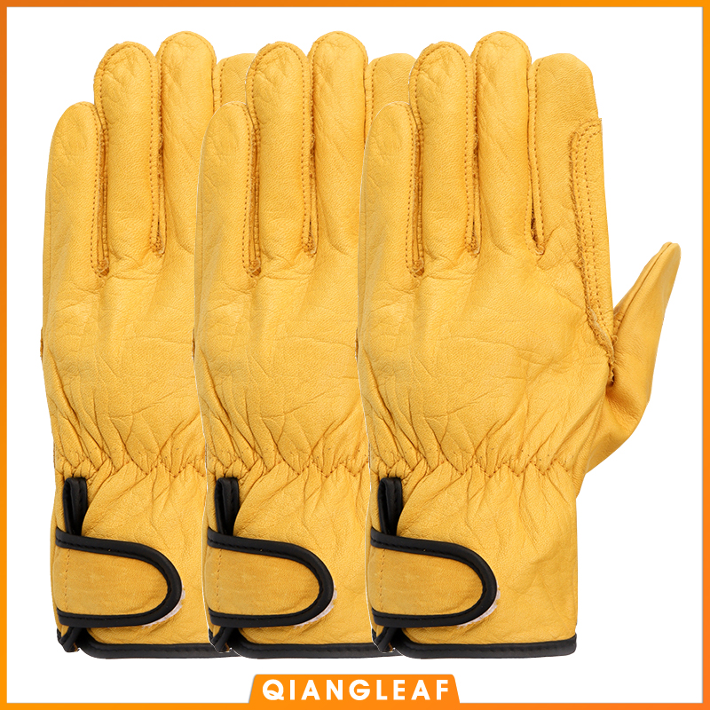 QIANGLEAF 3pcs New Free Shipping Protection Glove D Grade Pigskin Yellow Ultrathin Leather Safety Work Gloves Wholesale 527NP