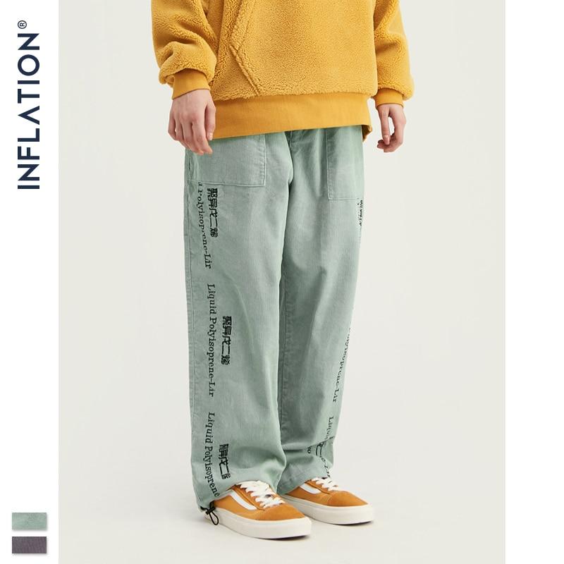 INFLATION 2020 Collection Men Casual Pants Wide Wale Men Corduroy Slacks Loose Fit Overalls Solid Color Men Corduroy Pant 93389W