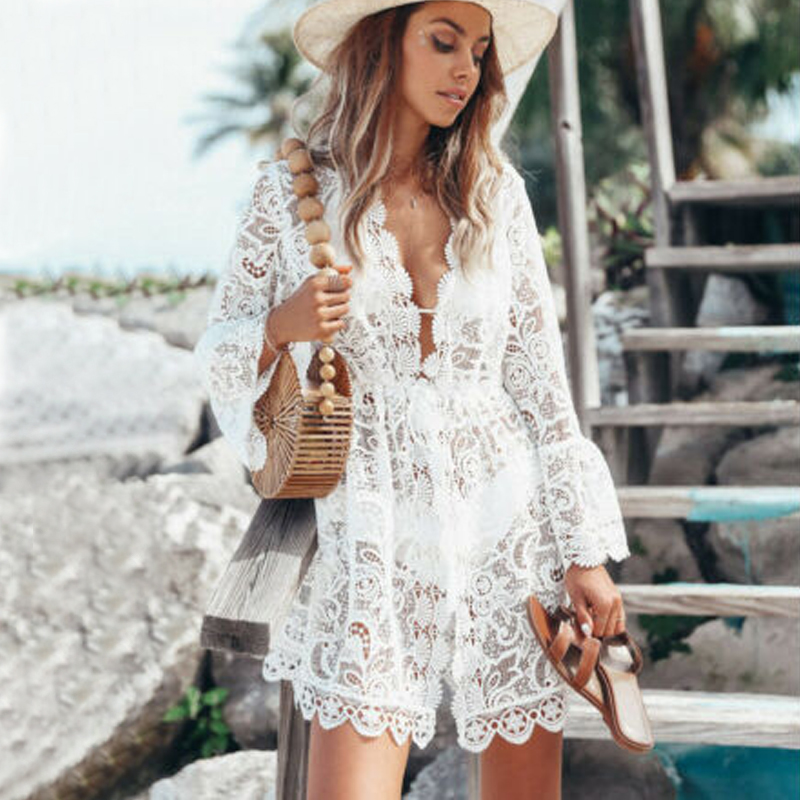 New Sexy Women Lace Short Dress Ladies V Neck Long Sleeve Floral Dresses Summer Casual Beach White Mini Sundress Hot Sell