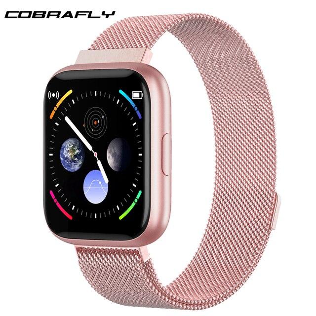 Cobrafly P6 ساعة ذكية النساء الرجال pk P68 P70 1.4 بوصة شاشة تعمل باللمس الكامل IP67 مقاوم للماء مراقب معدل ضربات القلب جهاز تعقب للياقة البدنية ساعة