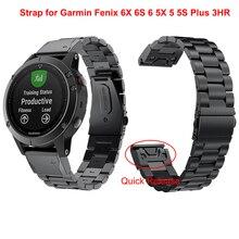 22 Garmin Fenix 6X 6S 6 5X 5 5S Plus 3HR 시계 용 20MM 시계 밴드 스트랩 퀵 릴리스 스테인레스 스틸 교체 손목 밴드 26MM
