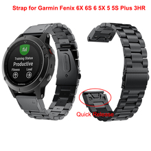 Pulseira de relógio de 22 20mm, pulseira para garmin fenix 6x 6s 6 5x 5 5S plus 3hr, liberação rápida pulseira de replcimento de aço inoxidável, 26mm