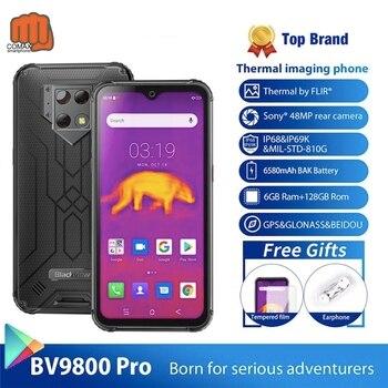 Перейти на Алиэкспресс и купить Blackview смартфон IP68, 6580 мАч, 48 Мп + 16 Мп + 5 МП, супер AI Тройная камера, 6 ГБ + 128 ГБ, 6,3 дюйма, FHD + Grobal, 4G, мобильный телефон BV9800 Pro