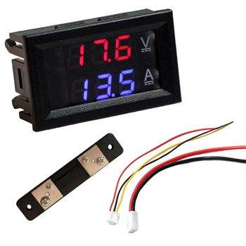 цена на Led Digital Voltmeter Ammeter Us Dc 100V 10/50 / 100A Voltmeter Ammeter Led Dual Digital Volt Amp Meter Gauge