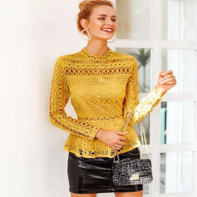 Elegant Lace Hollow Out Blouse
