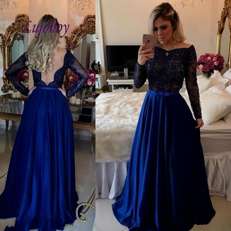 Royal Blue Long Sleeve Lace Evening Dresses Party Plus Size Women Ladies Sexy Prom Formal Evening Gowns Dresses