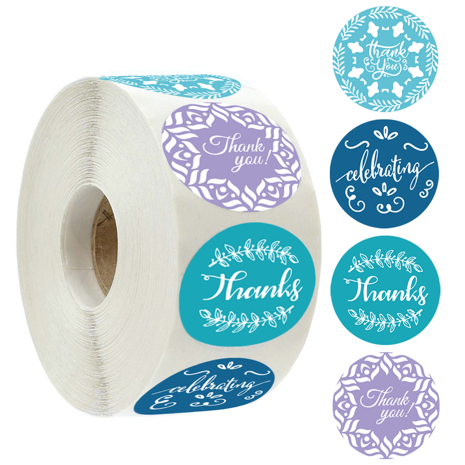 Round Paper Thank You Stickers Scrapbooking 500pcs 1inch Wedding Celebrating Seal Label Stickers Roll Stationery Stickers