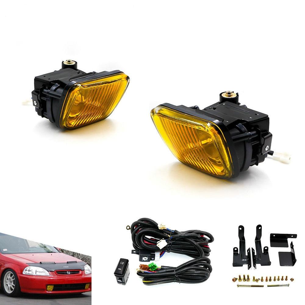 Car modified front fog lights for Honda Civic 96-98 with LED square fog lights