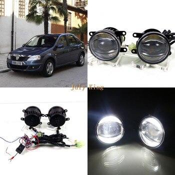 July King 1600LM 24W 6000K LED Light Guide Q5 Lens Fog Lamp +1000LM 14W Day Running Lights DRL Case for Dacia Logan 2004-2009