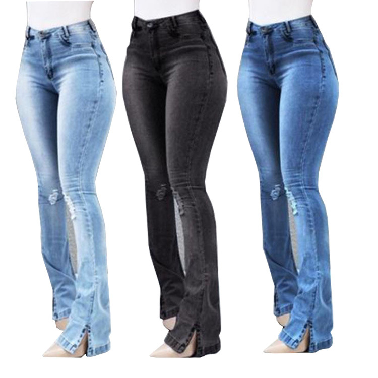 Vintage High Waist Wash Jeans For Women 2019 Boyfriend Blue Wide Leg Patchwork Tassel Denim Trousers Pants Plus Size