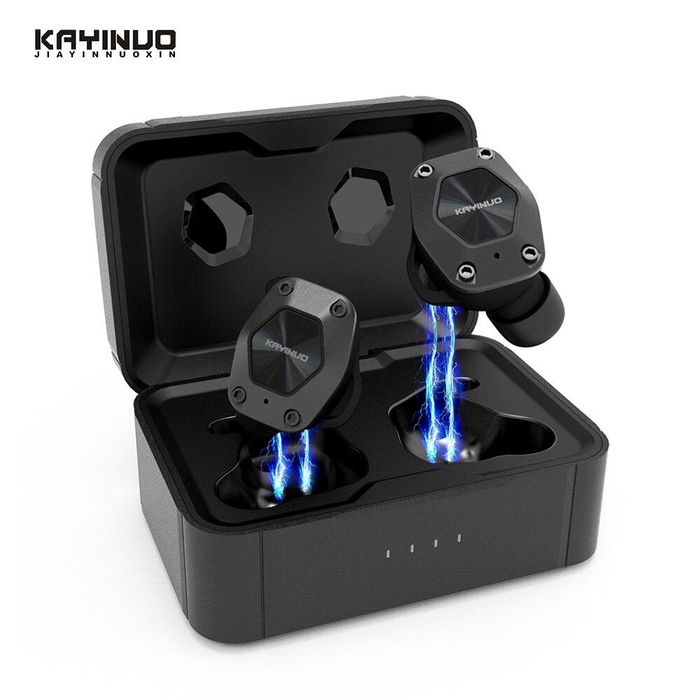 Tws KAYINUO 9D Estéreo bluetooth headest 5.0 redução de ruído sem fio fone de ouvido com microfone/Caixa de carga para esportes