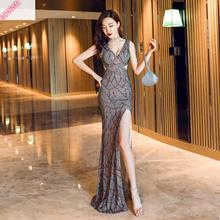 2019 Real Vestido De Festa Slimming Fishtail Elegant Famous Party Presides Over The Annual Meeting Of Noble Pearl Piece Embroid