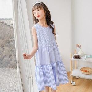 Детские летние платья в полоску для девочек; Платье для малышей 2020; Платья для девочек; Хлопковая одежда синего цвета для мамы и дочки; Милое ...