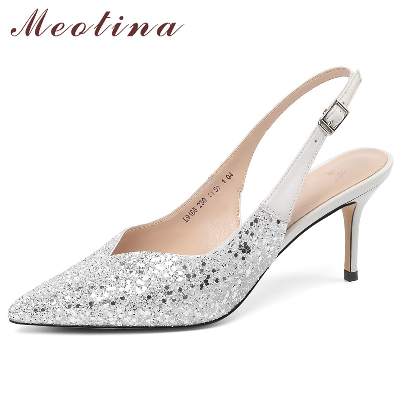 Meotina High Heels Women Pumps Glitter Stiletto High Heels Slingbacks Shoes Buckle Pointed Toe Party Shoes Lady Pink Size 33-39