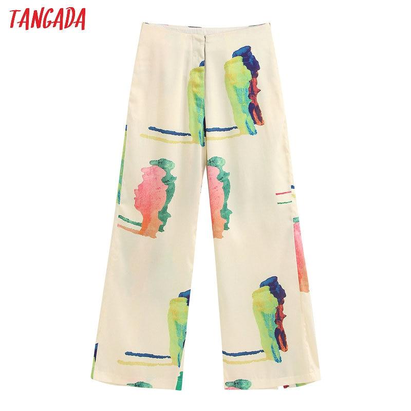 Tangada Fashion Women Floral Print Suit Pants Trousers Vintage Style Pockets Buttons Office Lady Pants Pantalon BE362