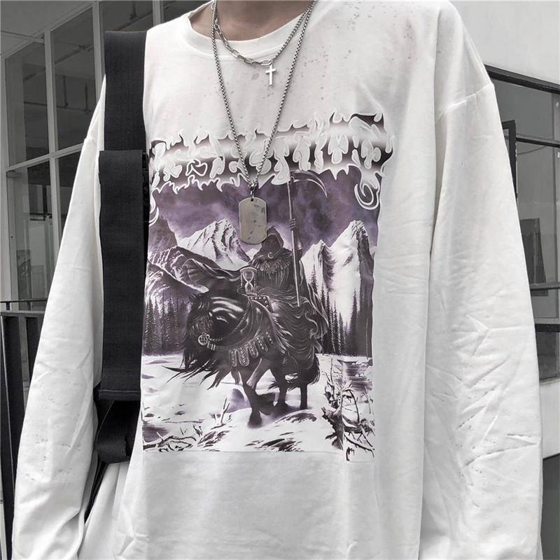 2020 Japan Harajuku Hip Hop T-shirts Men Women Spring Couple Long Sleeve Loose T Shirt Casual High Street Tops Tee Streetwear