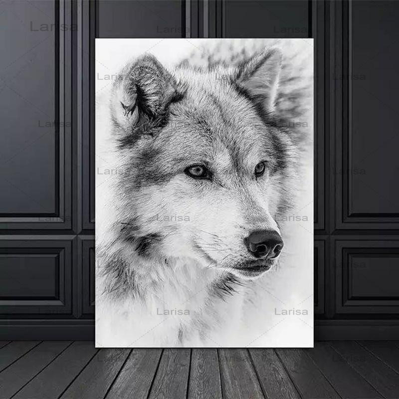 Черно-белый плакат в современном минималистском стиле, крутой волк, животное, Картина на холсте, принты, настенные картины для декора гостин...