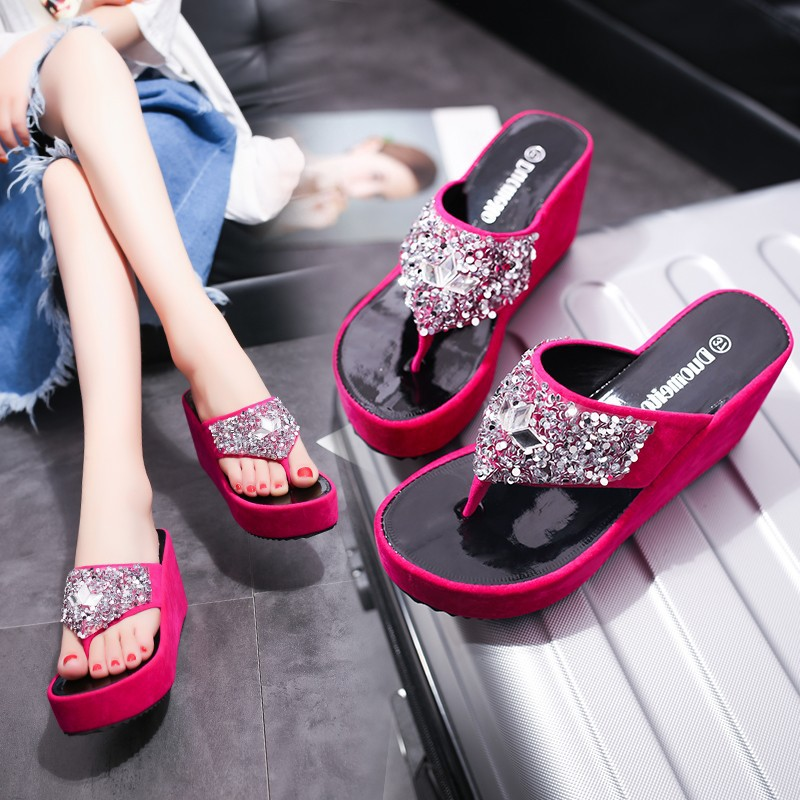 Women Spring Bling Slipper Woman Shoes Ladies PU Leather Wedges Flat Shoes Female Casual Slingbacks Sandals Comfortable Platform