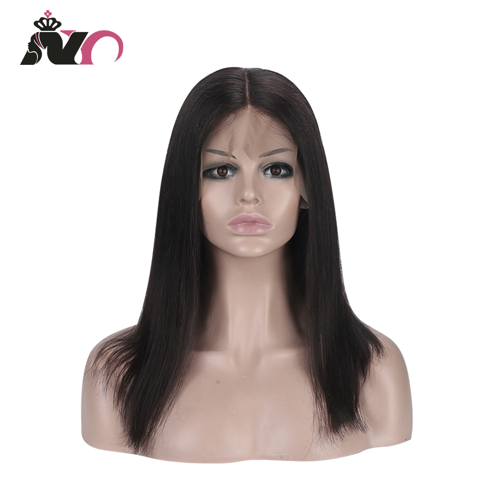 NY Hair 13*4 Lace Front 100% Human Hair Wigs Peruvian Straight Pre Plucked Baby Hair 8- 28 Inch Remy Hair Lace Frontal Wigs