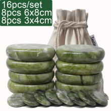 new 16pcs/set green jade body massage hot stone SPA with canvas CE and ROHS 4pcs(6x8)+4pcs(6x8)+8