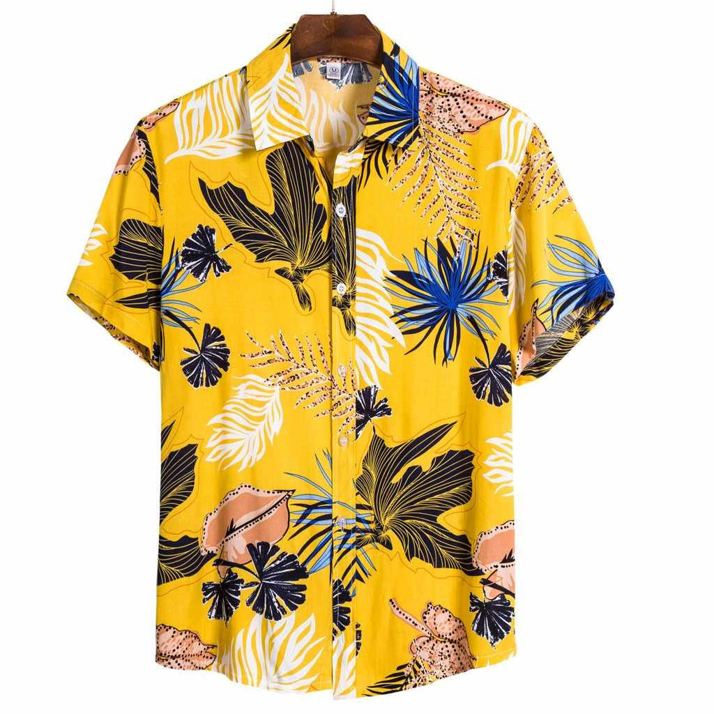 Mens Summer Beach Hawaiian Shirt 2020 Brand Short Sleeve Plus Size Floral Shirts Men Casual Holiday Vacation Clothing Camisas#g3
