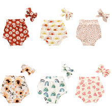 Summer Kids Boys Girls Shorts Floral Heart Rainbow Print Baby Girl Shorts Cotton Shorts Fashion Newborn Bloomers with Headband