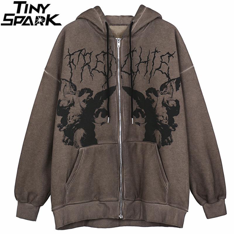 Men Hip Hop Streetwear Hooded Jacket Angel Dark Print Jacket Coat Harajuku Cotton Fleece Autumn Winter Jacket Outwear Zipper