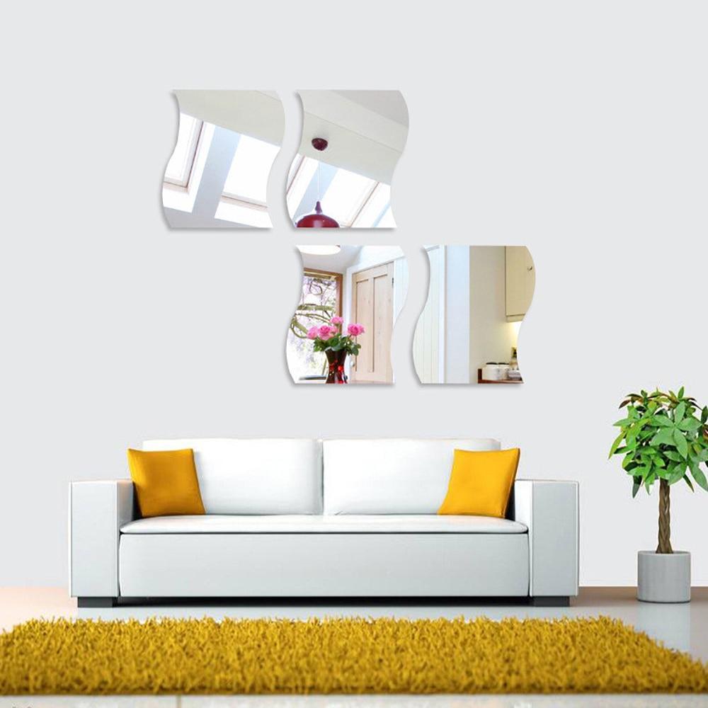 6 шт/компл наклейки на стену зеркало большого размера поверхность
