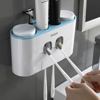 Family Toothpaste Dispenser Squeezer Automatic Bathroom Toothbrush Holder Set Wall Mounted Home 4 Cups Stand Dispenser For Bath