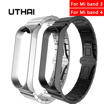 UTHAI Metal Stainless Steel Strap For xiaomi watch band For xiaomi Mi band 4 Wrist Strap For Mi band 3 Bracelet watchband