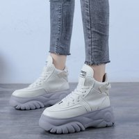 White Beige High Top Platform Chunky Sneakers Women 2019 Winter Casual Shoes Ladies Trendy Thick Soled Sneakers Women Shoes