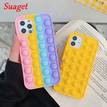 Stress Relief Toys Phone Case for iPhone 8 7 6 Plus X XR XS Max Fashion Rainbow Silicone Cover for iPhone 12 Mini 11 Pro Case