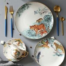 Керамические коробки д 'экватор тарелки посуда костяного фарфора животное фруктовый десерт блюдо для закусок домашнее украшение для столовой посуды
