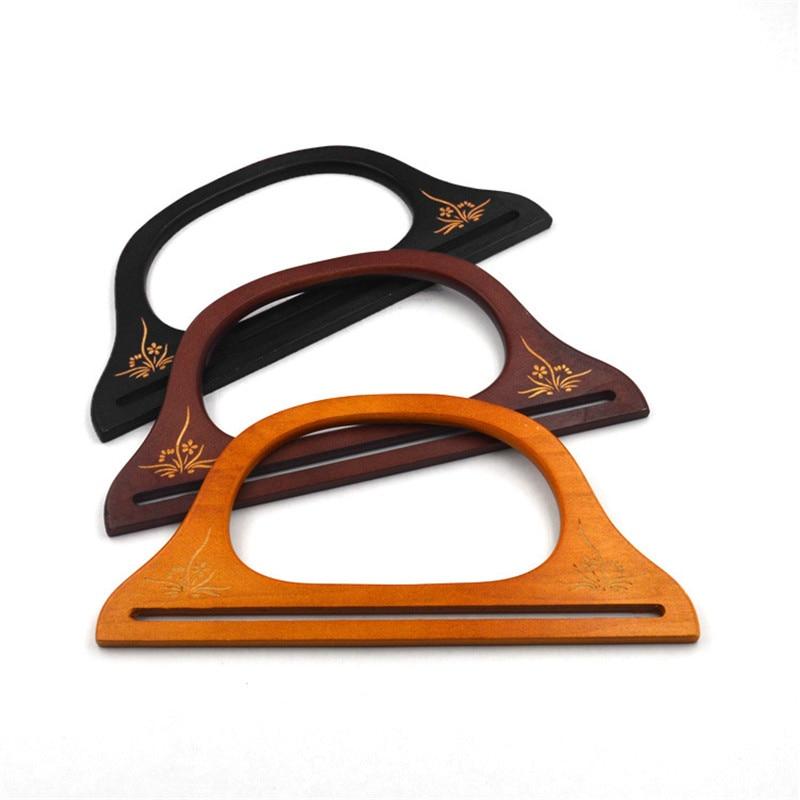 Women Bag Parts Wooden Handle For Handmade Bags Handbag Lady DIY Handle Handcraft Supplies For Bag Femme