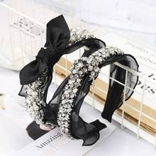 Wedding Jewelry Wide Headband Ladies Vintage Faux Pearl Rhinestone Handmade Beading Hair Hoop Hollow Gird Bowknot Lace Headwear(China)