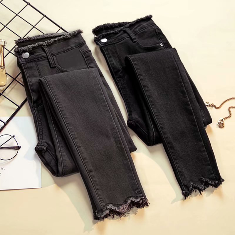 Woman   Jeans   Denim Pants Black Gray Stretch PantsTight Pants Multiple Code Pants