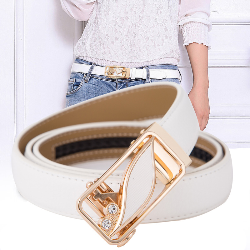 High Quality Genuine Leather Women's Automatic Buckle Fashion Adjustable Flower Belt  Ladies Dress Jeans Student Belts