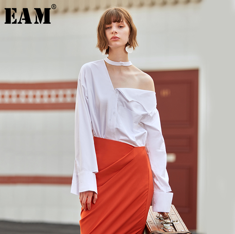 [EAM] Women White Hollow Out Temperament Blouse New Stand Collar Long Sleeve Loose Fit Shirt Fashion Spring Autumn 2020 1D136