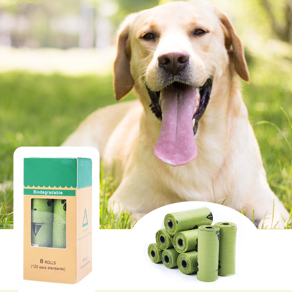 8 Rolls Compostable Dog Poop Bags Cornstarch Earth Friendly Biodegradable Cat Waste Bags Garbage Bag Dog Walking Supplies Bags