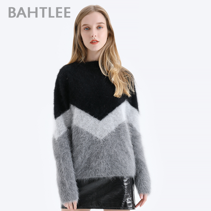 BAHTLEE Women Angora V-neck Pullovers Sweater Autumn Winter Wool Knitted Geometric Designs Jumper Long Sleeves Loose Style